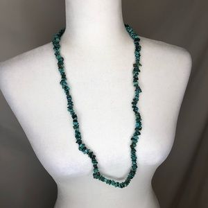 🍭 Vintage teal rock statement necklace